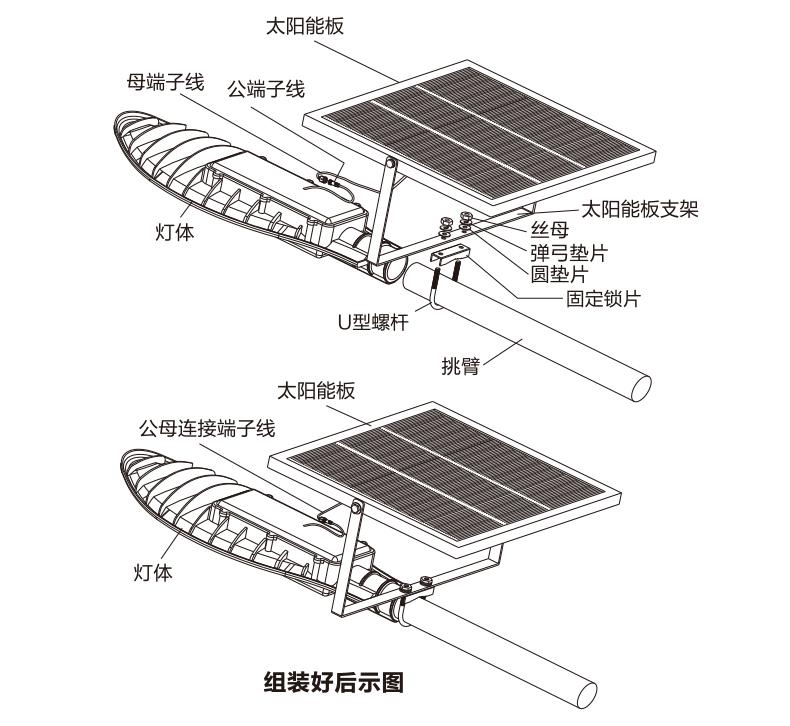 太阳能挑壁灯结构示意图